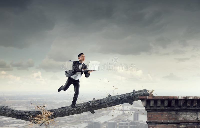 Overcoming fear of failure . Mixed media stock photos