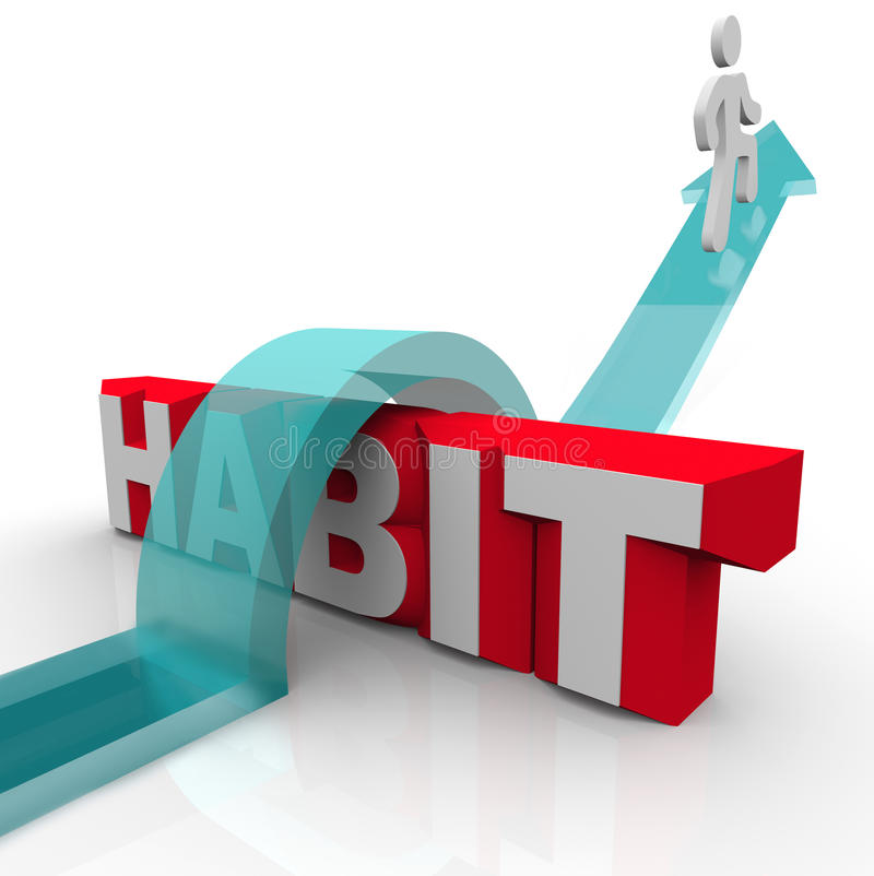 Overcoming a Habit Addiction Person Over Word Obstacle royalty free illustration
