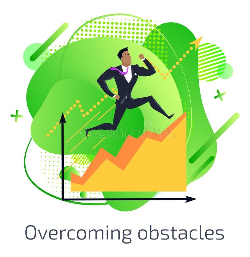 Overcoming Obstacles, Businessman with Charts vector illustration