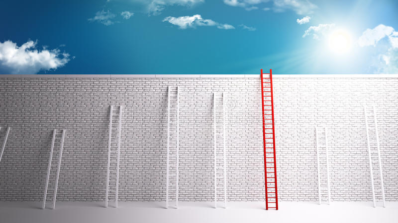 Overcoming the wall to success. 3D rendering of a white brick wall separating from success. overcoming dificult scenarious royalty free illustration