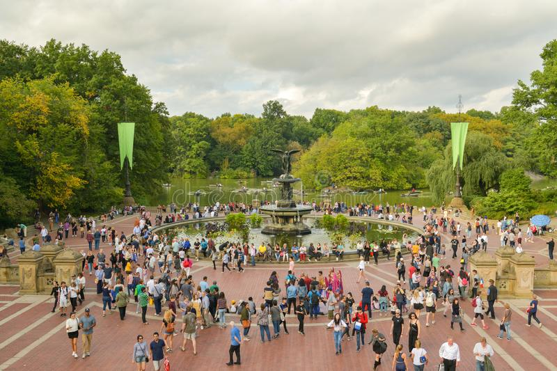 Overcrowded Bethesda Terrace in Central Park, New York City. New York City, United States - October 7, 2018: Overcrowded Bethesda Terrace in Central Park, New royalty free stock image