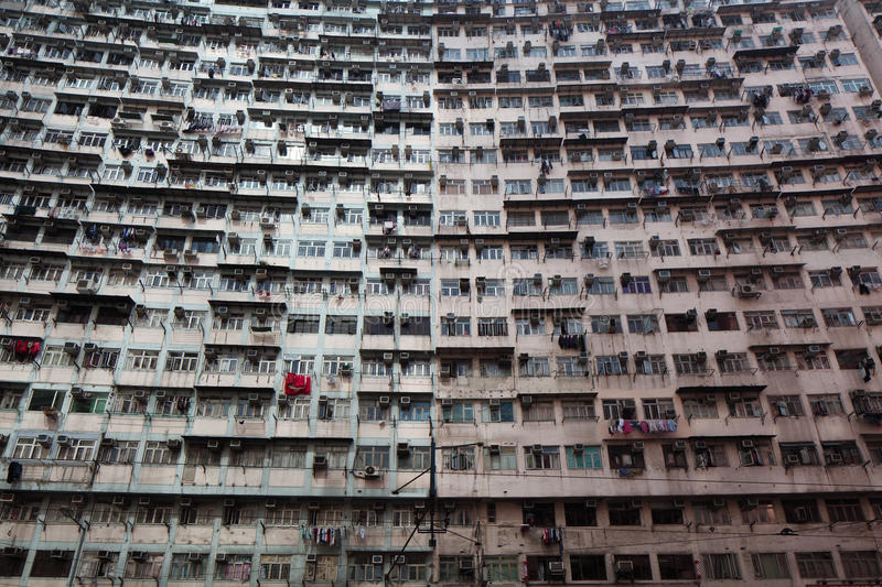 Overcrowded residential building royalty free stock photography