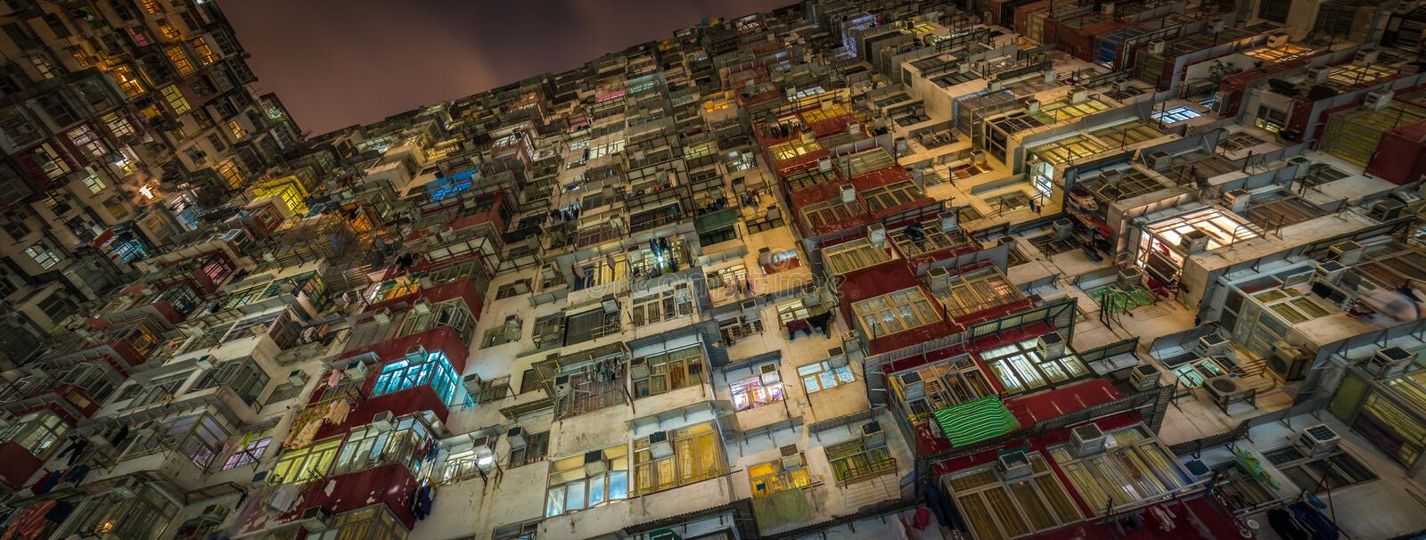 Overcrowded residential building in Hong Kong stock photography