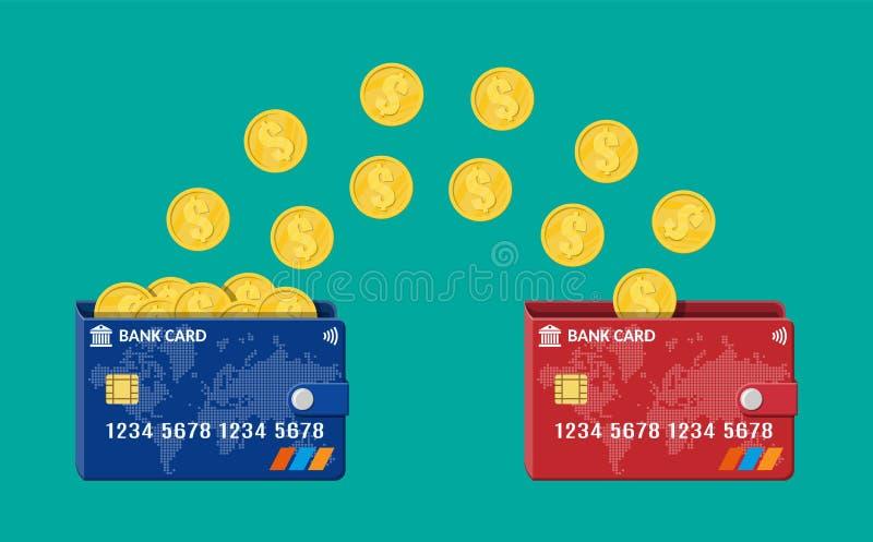 Overdracht van het bank de plastic kaart aan kaart geld royalty-vrije illustratie