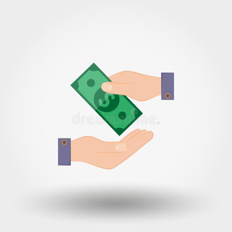 Overdrachtgeld van hand aan hand vector illustratie