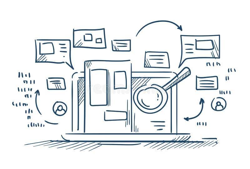 Overdrijf de informatie van het glasonderzoek over laptop het doorbladeren van Internet concept op witte achtergrondschetskrabbel stock illustratie