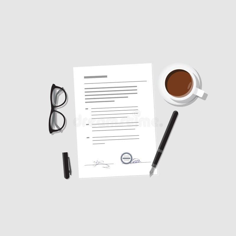 Overeenkomst en contractvector vector illustratie