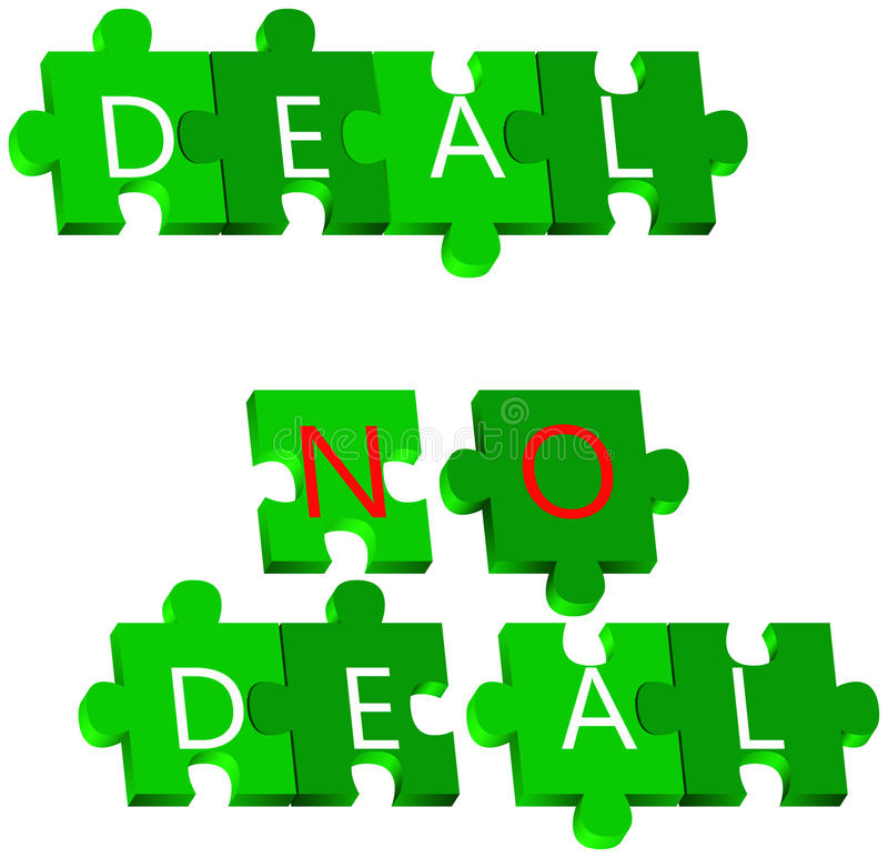 Overeenkomst en Geen overeenkomstenraadsel royalty-vrije illustratie