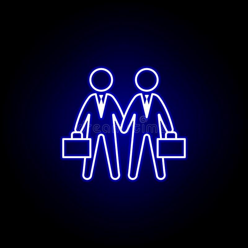 Overeenkomst, handdruk, zakenliedenpictogram Elementen van Personeelsillustratie in het pictogram van de neonstijl De tekens en d royalty-vrije illustratie