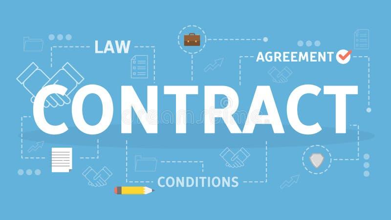 Overeenkomst Het concept van het contract Idee van wettelijke overeenkomst en document royalty-vrije illustratie