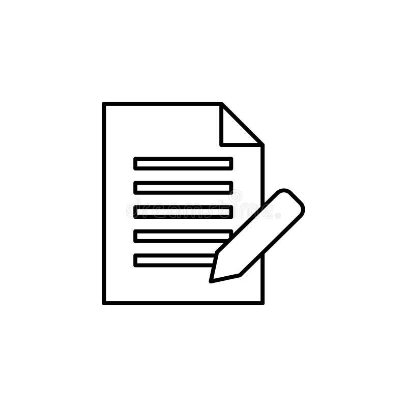 Overeenkomst, pen, documentpictogram over witte achtergrond Kan voor Web, embleem, mobiele toepassing, UI, UX worden gebruikt stock illustratie