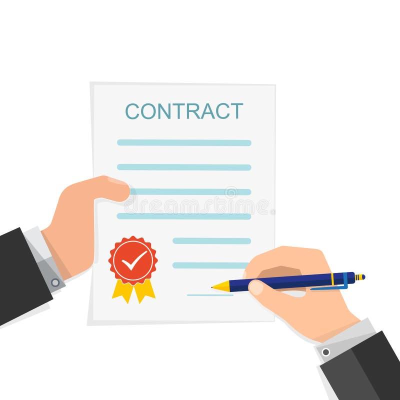 Overeenkomstenconcept - hand het ondertekenen van contract Vector illustratie royalty-vrije illustratie