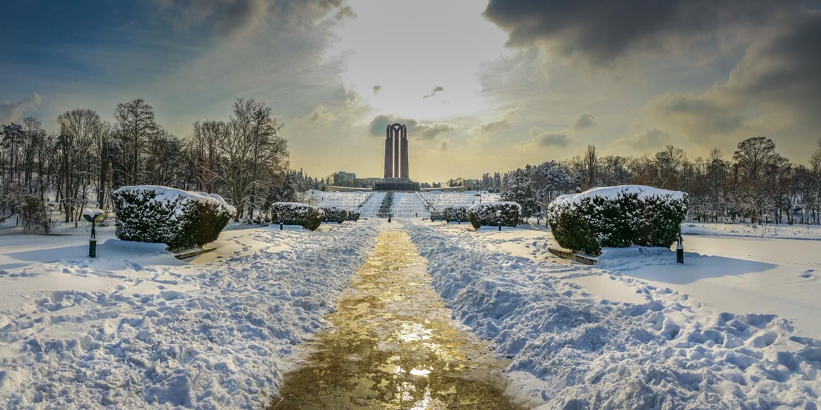 overfiltered artistic landscape panorama in Carol Park from Bucharest stock photos