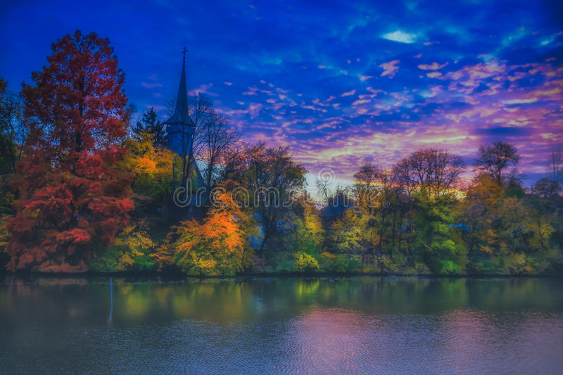 overfiltered fog in autumn landscape from Herastrau park royalty free stock image