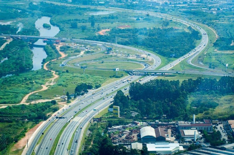 Overflight no aeroporto dos congonhas do helicóptero de São Paulo Brazil imagem de stock royalty free