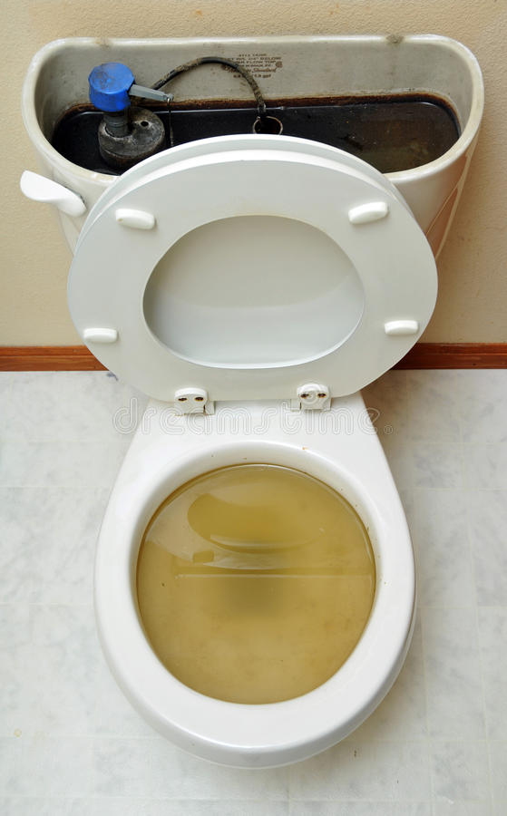 Overflowing Broken Toilet. Toilet overflowing! Brown water can be seen in the open top and urine in the pot as well royalty free stock photo
