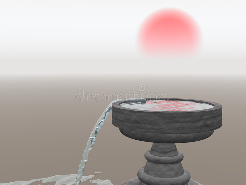 Download Overflowing Fountain With Rising Sun Stock Illustration - Image: 1857178