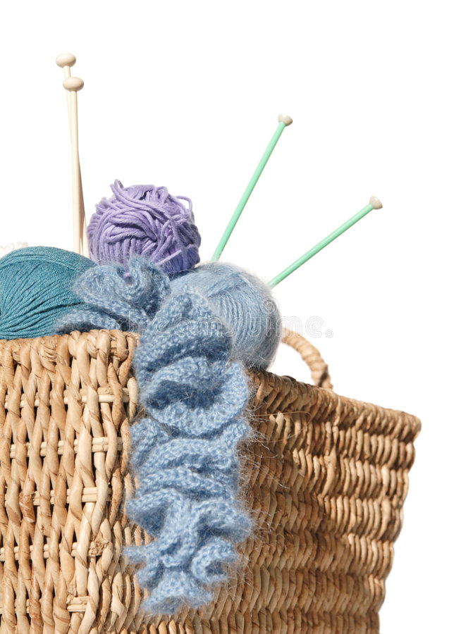 Overflowing Knitter S Basket Stock Image