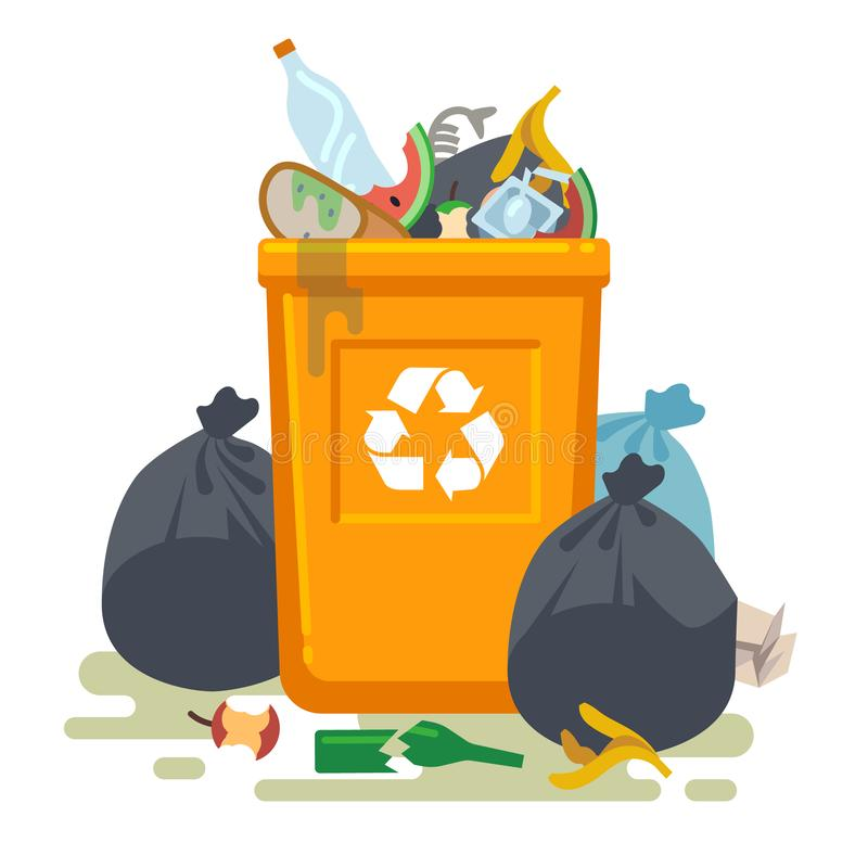 Overflowing trash can. Food garbage in waste bin with nasty smell. Rubbish dump and trash recycling vector isolated stock illustration