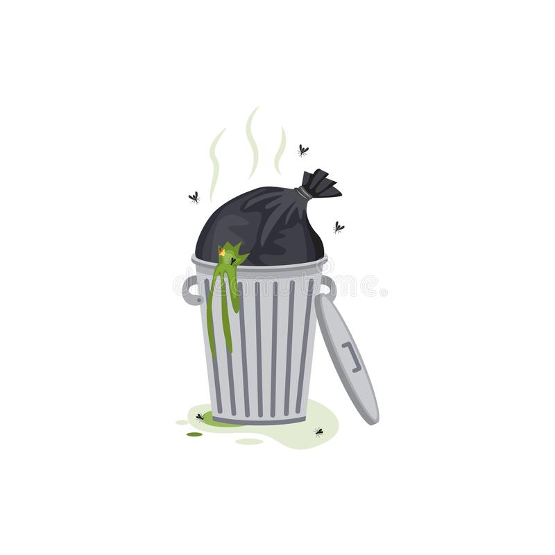Overflowing trash can with garbage flat cartoon vector illustration isolated. royalty free illustration