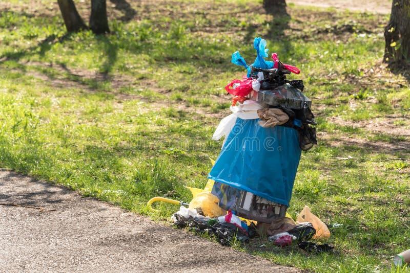 Overfull banialuka kosz w parku - odpady, plastikowi worki, psi poo, zdjęcia royalty free