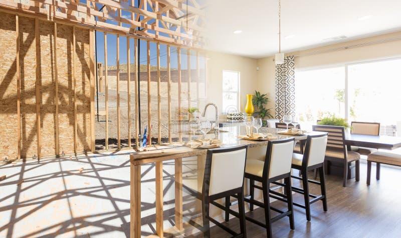 Overgang van Mooie Nieuwe Huiskeuken van het Ontwerpen aan Complet royalty-vrije stock foto's