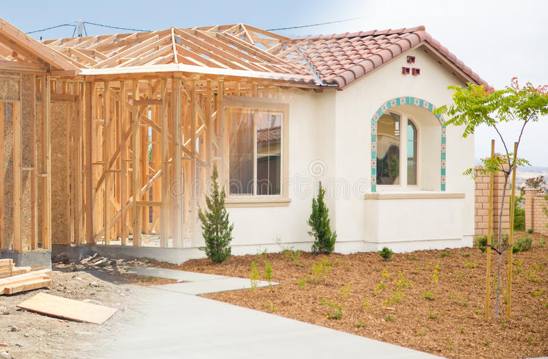 Overgang van Nieuw Huis van het Ontwerpen aan Voltooiing stock foto's