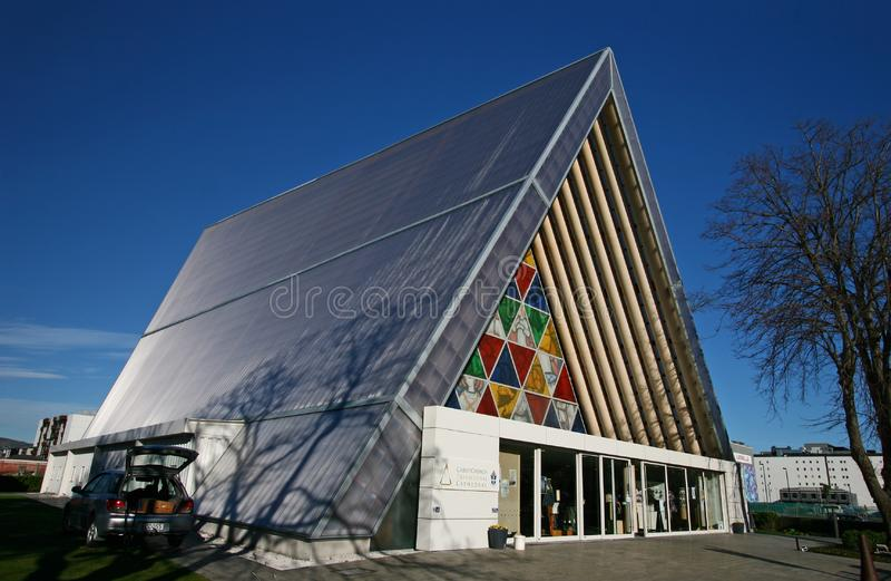 Overgangskathedraal door Shigeru Ban na aardbevingsramp in Christchurch, Canterbury, Nieuw Zeeland stock fotografie