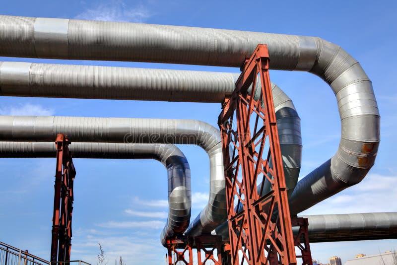 Overground network pipeline of heat stock photo