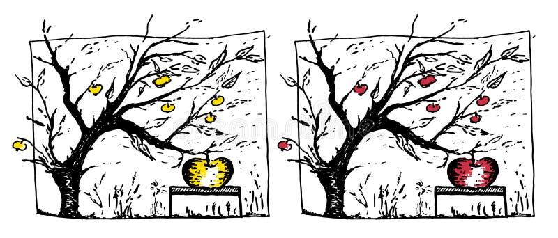 Overgrown apple on apple tree illustration vector illustration
