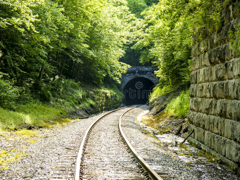 Overgrown Train Tunnel. Saturated image of the overgrowth surrounding an old stone train tunnel. Western Pennsylvania royalty free stock images