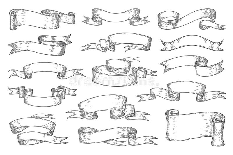 Overhandig getrokken linten Uitstekende schetselementen voor de uitnodigingskaarten van affichesemblemen, retro heraldische linte stock illustratie