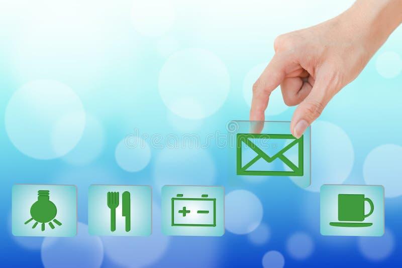 Overhandig het trekken van groen pictogram stock foto