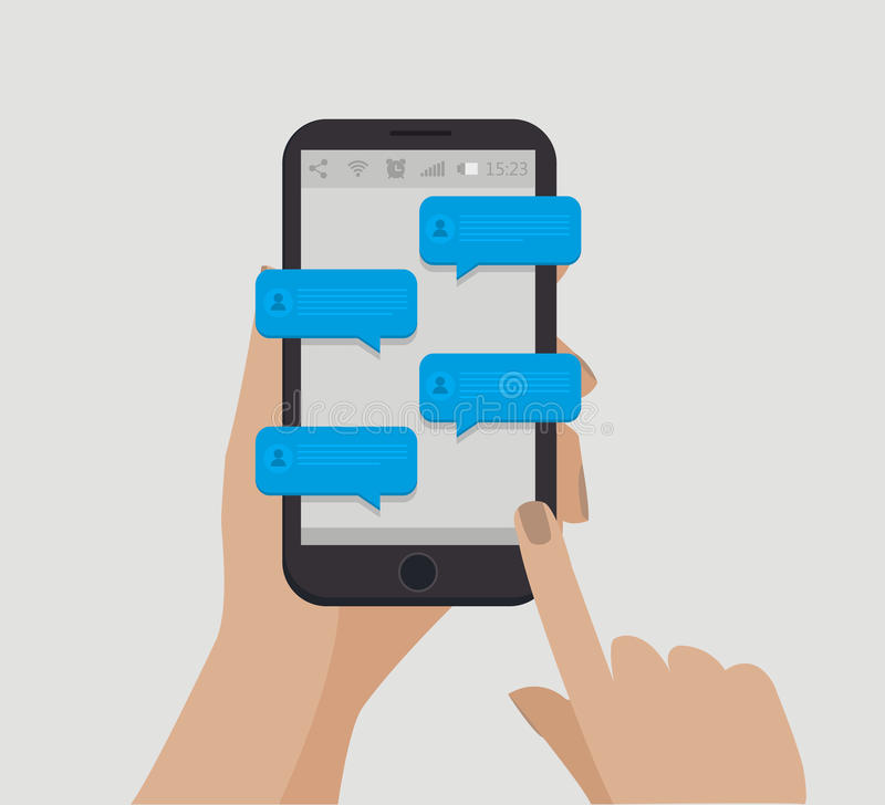 Overhandig holdingssmartphone Chatingsconcept Online mededeling Vector illustratie stock illustratie