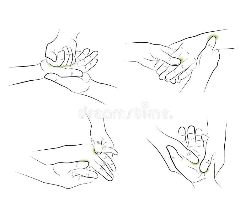 Overhandig Massage medische aanbevelingen Vector illustratie royalty-vrije illustratie