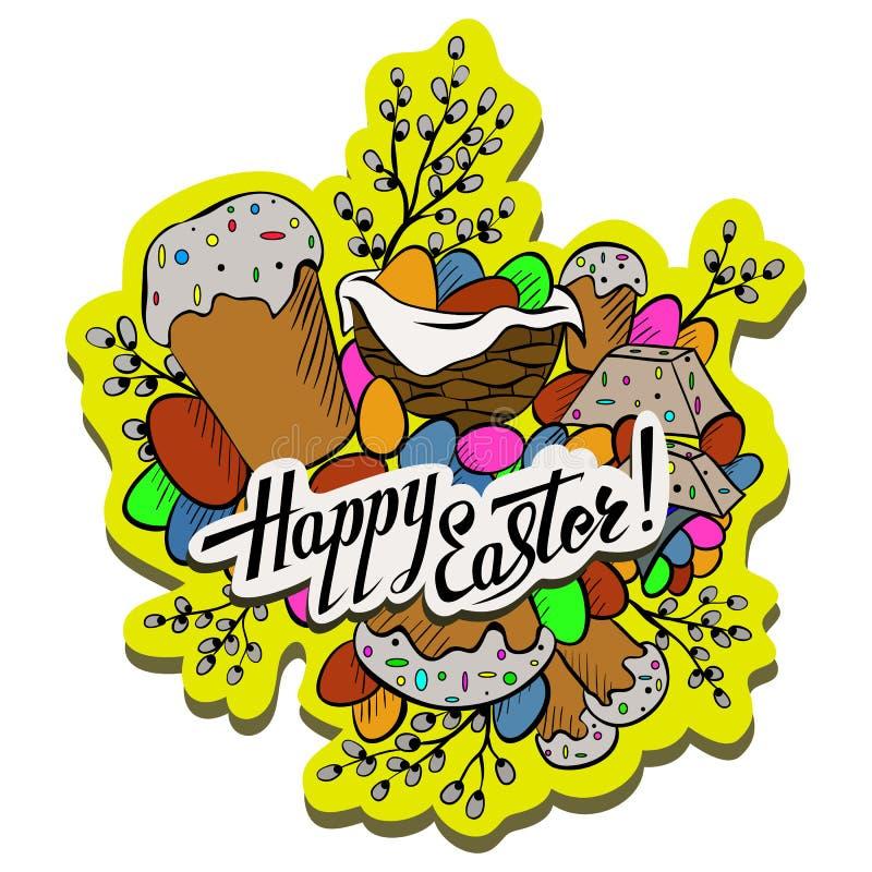 Overhandigen de beeldverhaal leuke krabbels getrokken Gelukkig Pasen-ontwerpelement met het van letters voorzien op een witte ach vector illustratie
