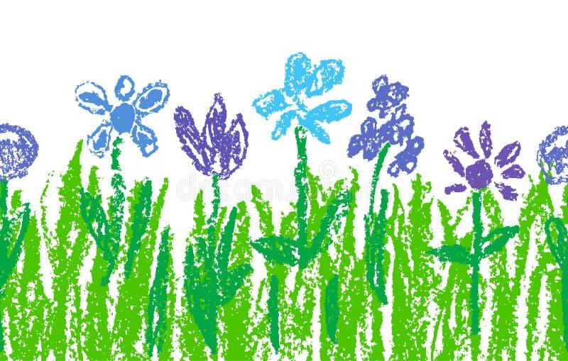 Overhandigen de blauwe bloemen van het waskleurpotlood met groen gras zoals jong geitje` s kunst getrokken vector illustratie