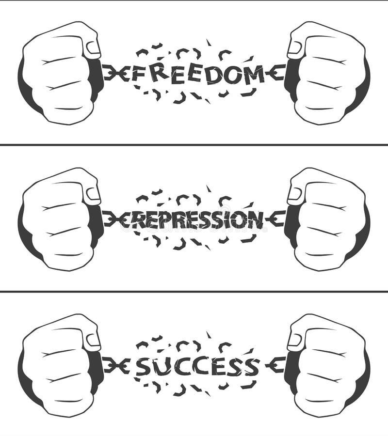 Overhandigt de afbrekende kettingen het concept vrijheid vector illustratie