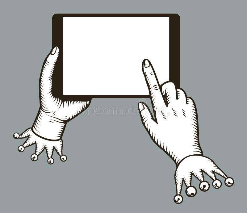 Overhandigt een gat makende in tabletcomputer met kraanvinger op het lege scherm Digitale tabletpc gelijkend op ipad Online gebru vector illustratie