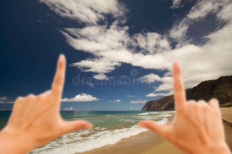 Overhandigt Frame Polihale Strand, Kauai royalty-vrije stock foto
