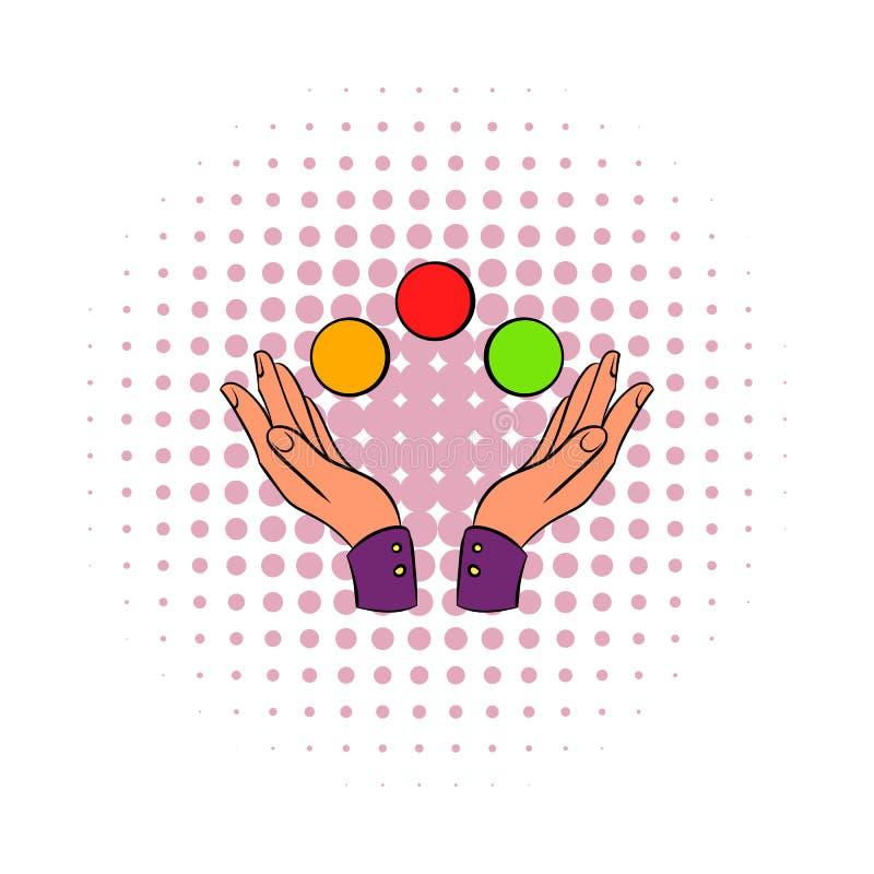 Overhandigt het jongleren met het pictogram van de ballenstrippagina royalty-vrije illustratie