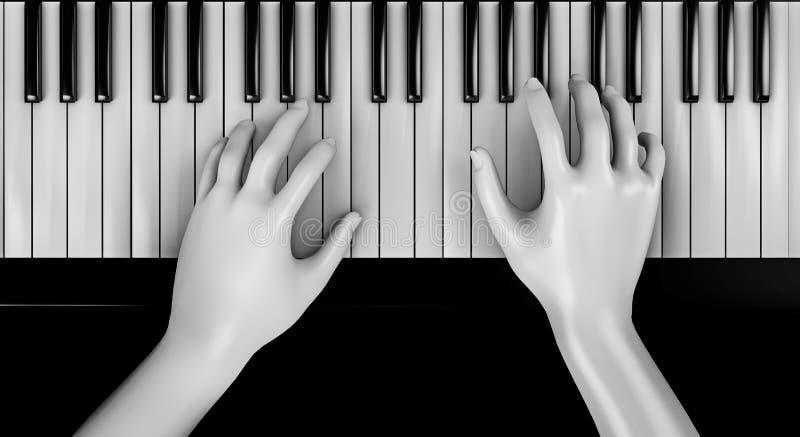 Overhandigt het spelen piano vector illustratie