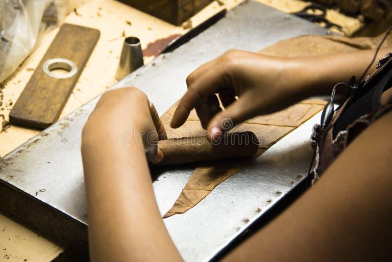 Overhandigt rollende sigaren in een fabriek stock foto's