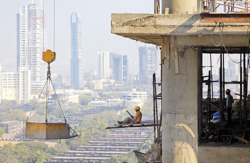 Overhanging seventeenth floor no harness royalty free stock image