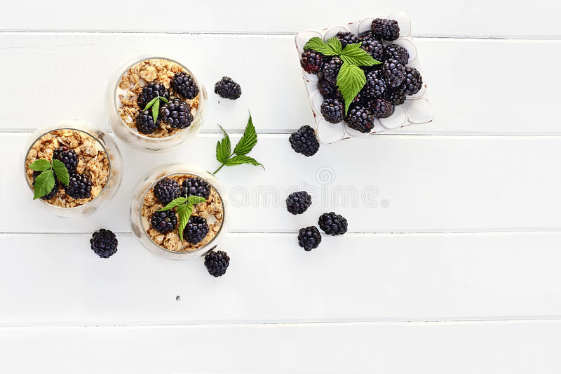 Overhead of Blackberry Parfaits royalty free stock photography