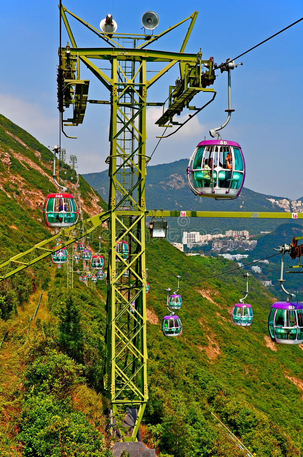 Overhead Cable Cars Of Ocean Park Hong Kong Editorial Image