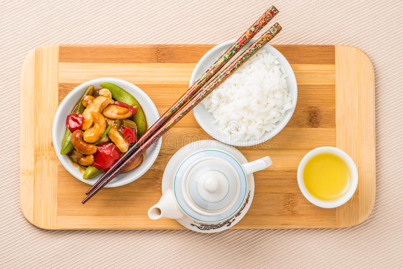 Overhead Cashew Chicken royalty free stock photography
