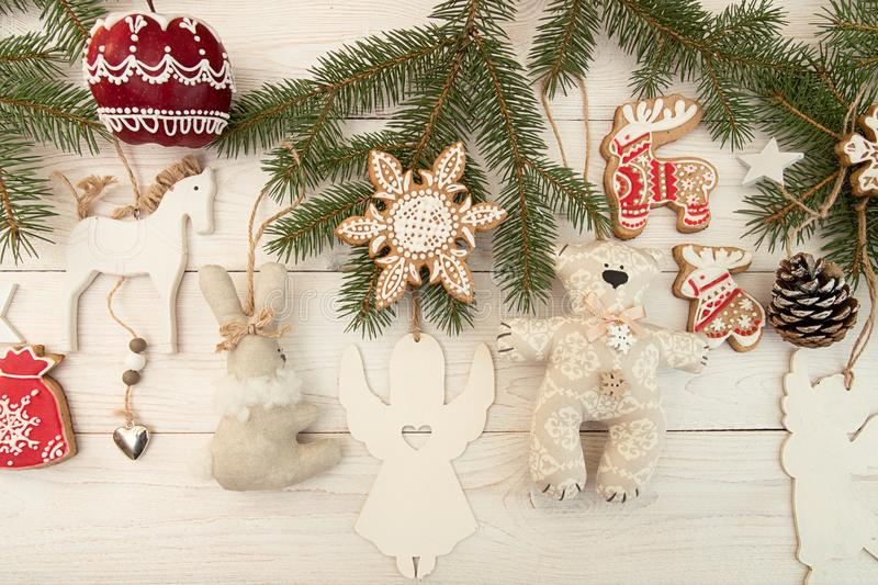 Overhead of Christmas New Year holiday background. Decoration wi stock photo