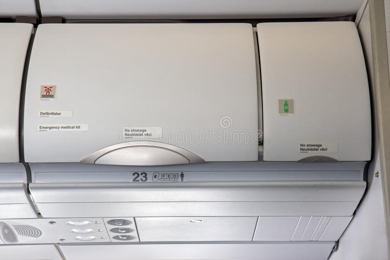 Overhead compartment stock photography