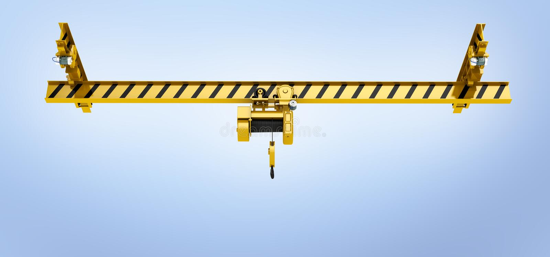 Overhead crane on blue gradient background 3d royalty free illustration